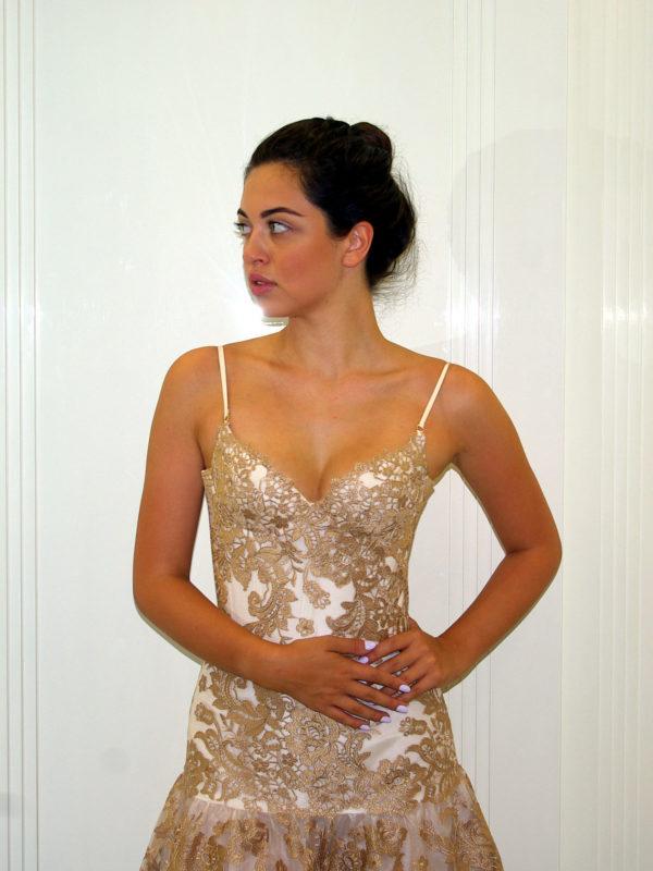 """Корсетное коктейльное платье из Итальянской сетки """"Golden Dream"""""""